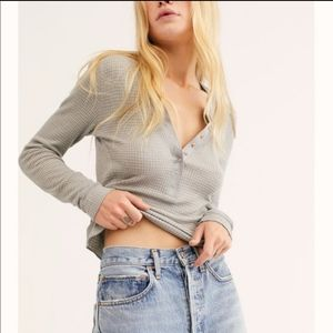 Free People NWOT One Of The Girls Henley Top